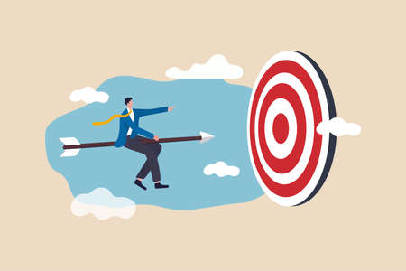 Business success achievement, leadership to survive and win business strategy or setting goal and target concept, smart business man worker riding speed arrow precisely aiming at target bullseye. Vettoriali