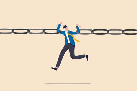 Business risk, vulnerability, danger and weakness or conflict causing failure in business and investment concept, tried fatigue businessman trying to hold broken chain together with his low energy.