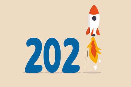 New year 2021 economic recovery, launching new project or FED and government financial stimulus concept, calendar year number 2021 with launching business rocket on number one. Vektorgrafik