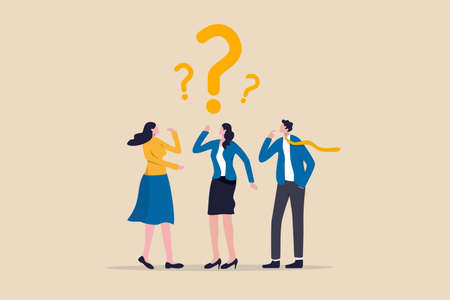 Confused business team finding answer or solution to solve problem, work question or doubt and suspicion in work process concept, businessman and woman team thinking with question mark symbol. 矢量图像