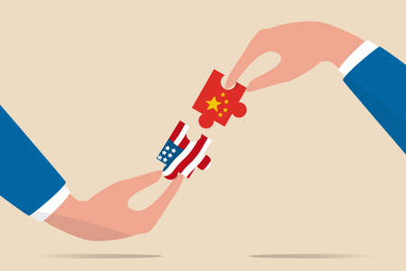 United States and China trade war negotiation, globalization deal between world leading country concept, businessman leader holding jigsaw with China and US flag to put it together. Иллюстрация