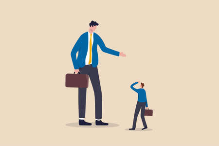 Big business competitor, career obstacle, conflict with boss, overcome difficulties in work or entrepreneur, SME, Small and Medium Enterprise concept, small guy businessman confront big competitor.