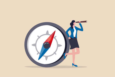 Female leadership, woman vision to lead direction, gender equality to embrace woman in business management concept, smart businesswoman standing with big compass look through spyglass or telescope.