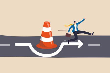 Overcome business obstacle, blocker, effort to break through road block, solution to solve business problem concept, smart bravery businessman run the way around and jump pass traffic pylon roadblock. Ilustração