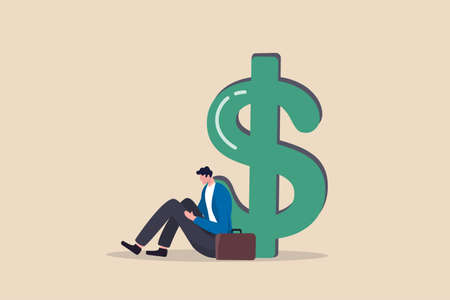 Unemployment, jobless causing financial problem, debt or bankruptcy office worker, no income to pay for mortgage or banking loan concept, depressed unemployed businessman sitting with big dollar money