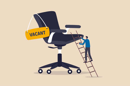 Candidate searching for job career path or job promotion to be management, ladder of work success concept, ambitious businessman worker climbing the ladder to management office chair with vacant sign