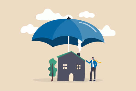 House insurance, home disaster insure coverage or safety or shield for residential building concept, young man house owner with his house under strong cover umbrella.