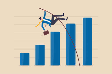 Business growth, improvement or high percentage increase of earning and profit, financial achievement after economic recovery concept, businessman jumping pole vault over growth bar graph. 向量圖像