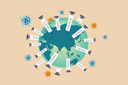 COVID-19 vaccine implementation, herd immunity build up, worldwide distribution of Coronavirus COVID-19 vaccine concept, medical syringes with needle planting on planet earth with virus pathogen. 向量圖像