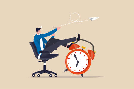 Productivity and efficiency in work, procrastination or time management or project deadline, best performance employee concept, smart relax businessman sitting on alarm clock launching paper airplane. 向量圖像