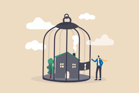 Mortgage payment problem, housing debt in economic crisis concept, worried house owner businessman standing with his house inside locked bird cage.