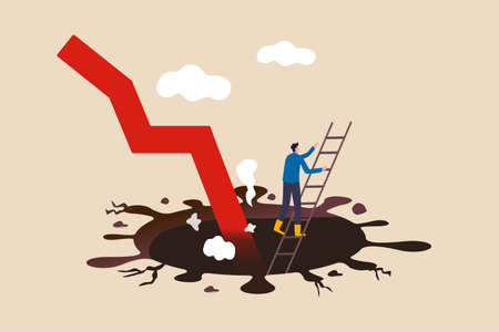 Business to survive in COVID-19 pandemic causing economic recession, survival from Coronavirus crash concept, businessman climb up ladder from deep hole of coronavirus impact with red arrow graph. Ilustración de vector