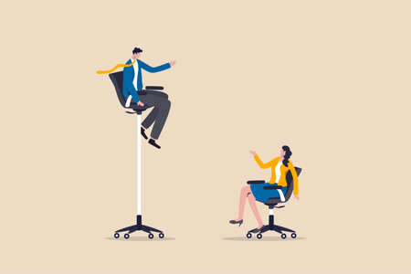 Gender gap and inequality in work, pay gap or advantage for man over woman in career path concept, businessman sitting on high office chair over businesswoman sit on normal chair discussing work. Illustration