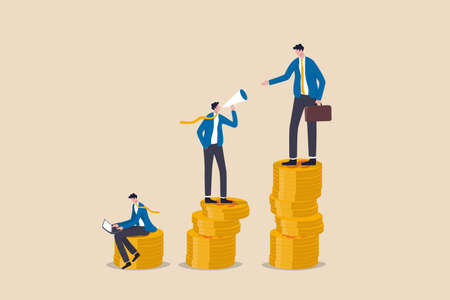 Income gap, inequality revenue in capitalism or career development to earn more income, middle income trap concept, businessman poor, middle and rich worker standing on stack of their wealth coins.
