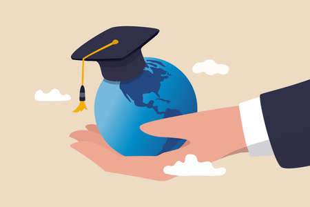 Study abroad world education curriculum, overseas school, college and university or international academic concept, success graduated student holding globe shape wearing academic mortarboard hat.