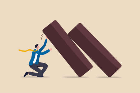 Business resilience, flexibility working to survive and stand back in economic crisis, endurance and adaptability in business to success concept, confident strong businessman push back falling dominos
