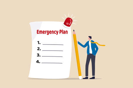 Business emergency plan, checklist to do when disaster happen to continue business and build resilience concept, smart businessman leader holding pencil with paper of emergency plan flashing siren.