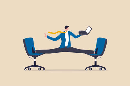 Flexible work, let employee manage their working time to finish project concept, smart relax businessman working with laptop computer stretching his leg between chairs balance like yoga.