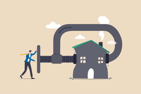 House mortgage refinance, reduce cost and interest payment, manage budget to pay for best house deal concept, businessman home owner using big clamp to squeezing house metaphor of refinancing mortgage