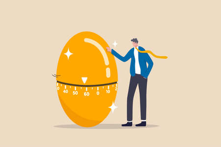 Retirement pension fund, IRA, 401K, Roth or ISA account in UK, investment for money to use after retirement concept, businessman standing with countdown timer golden egg move approaching retired age. 向量圖像