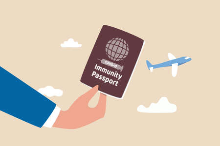Immunity passport, COVID-19 vaccine certificate for international travel, Coronavirus immune document for tourist concept, traveller holding immunity passport verification at airport flight check in.