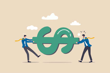 Fight for money tug of war business competition fight for market share or work conflict concept, greedy businessmen company owner or worker pulling tug of war money dollar sign with full effort.