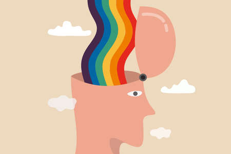 Mental state of happiness, good mood or positive thinking mind, emotional therapy or brain treatment concept, man with open head and happy rainbow wave from inside his brain around with cloud. Vector Illustratie