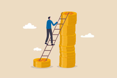 Wage, income or salary increase, investment profit rising up, wealth management for higher return concept, success businessman investor climbing up ladder from low dollar money stack to the higher one
