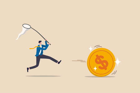 Chasing high performance active mutual fund, buying rising star stock or funds, catch or grab hot ETFs concept, businessman investor run chasing try to catch high performance attractive dollar coin. Vecteurs