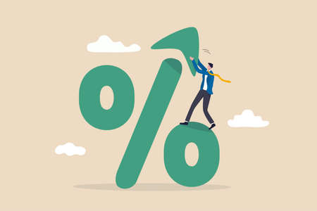 Interest rate, tax or VAT increase, loan and mortgage rate upward trend, investment profit or dividend rising up concept, businessman banker, FED or government put upward arrow on percentage symbol.