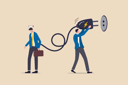 Recharge energy to exhausted fatigue office employee, refresh from overworked or burn out concept, businessman manager holding huge electric plug to recharge low battery exhausted businessman worker.