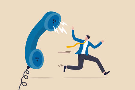 Customer complaint, dissatisfaction from product or service problem, angry feedback from client concept, businessman product owner running away from furious complain telephone from customer or client.