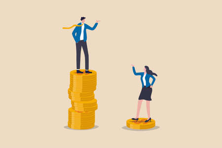 Gender pay gap, inequality between man and woman wage, salary or income, issue about gender diversification concept, businessman standing on much more paid money coins, woman on less small income coin