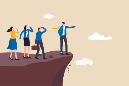 Wrong direction leader, stupid authoritarian boss, stupidity or mistake lead company and employees to sabotage or bad problem concept, stupid boss manager pointing order employees to jump off cliff.