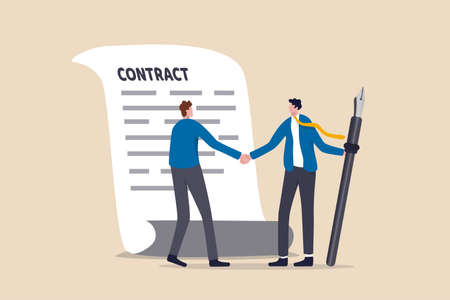Signing contract, business deal or partnership, banking loan, investment contract or job offer agreement concept, success businessman handshake with client holding pen ready to sign agreement contract Illustration