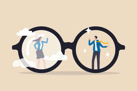 Sexism inequality in the workplace in eyeglasses with clear vision on businessman and unclear blurry vision on woman Illustration