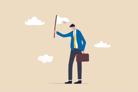 Give up or surrender on business battle, time to quit or stop failed company concept, sad businessman waving white flag metaphor of surrendering or giving up on work and business. Illustration