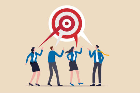 Teamwork aiming on the same target, collaboration to succeed in the same goal, partnership strategy concept, business people or business partner discussing work building circular dartboard target.