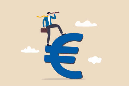 Europe financial visionary, economic forecast for European countries or investment and stock market concept, businessman investor standing on Euro currency sign using telescope to see market future.