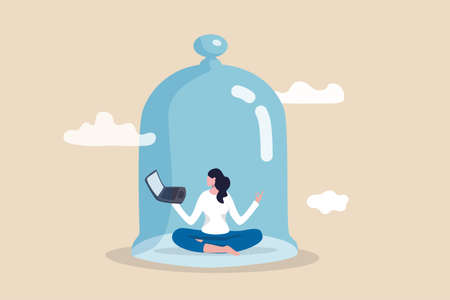 Introvert working space, privacy to work individual, employee work productively when working alone concept, introvert disconnected woman working alone with computer laptop covered inside glass dome.