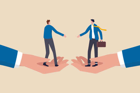 Business partnership, negotiation to make agreement or business deal concept, confident businessmen standing on big hands about to shaking hand for success business agreement.