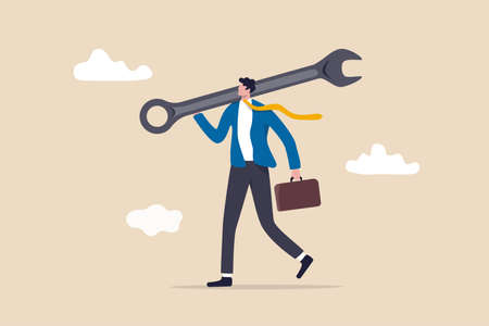Fix business problem, help resolve problem, improve business in downturn or crisis management concept, smart businessman carrying big wrench metaphor of fixing problem.