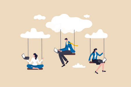 Cloud computing, remote work on company cloud infrastructure, technology to connect people concept, people businessman and woman office employees working with computer laptop on swing suspend on cloud Illustration