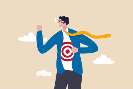 Recruitment target, head hunt, HR, human resources finding right candidate or target audience in marketing concept, businessman wearing eyeglasses tearing his suit reveal target symbol on his shirt. Illustration