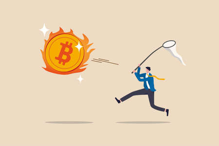 Chasing high performance bitcoin crypto currency in bull market, greedy speculation in Bitcoin trading concept, greedy businessman investor chasing try to catch hot fire flying bitcoin. Illustration