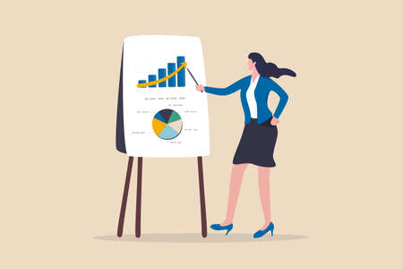 Financial data analysis report, statistic or economic research concept, businesswoman presenting graph and chart on board in the meeting.