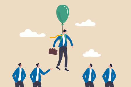 Innovation or stand out skill to different from others, success leader with winning strategy concept, smart businessman flying with balloon suit over other competitor or recruiting candidates.