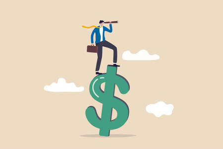 Vision for global financial or economy, business opportunity or investment forecast concept, smart confident businessman standing on US dollar money sign using telescope to see future prediction. Illustration