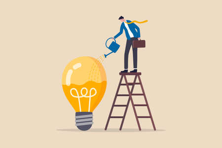 Idea development, creativity genius or knowledge to think about new business idea, skill improvement or career growth concept, smart businessman on ladder watering to fill in liquid in idea light bulb