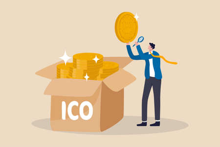 ICO, Initial Coin Offering process to create new crypto currency token to trade in market concept, businessman investor or coin creator picking new cryptocurrency coin and look into details. Illustration